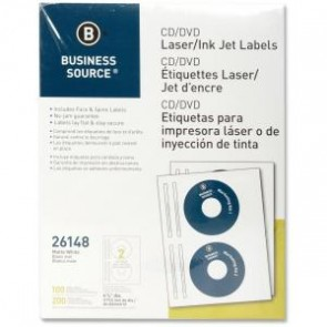 100 Etiquetas P/cd/dvd Business Source 2 Por Hoja/50hjs Por Caja