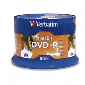 VBTM DVD GRABABLE DVD-R 4.7GB 16X IMPRIMIBLE (PQTE 50 PZS)