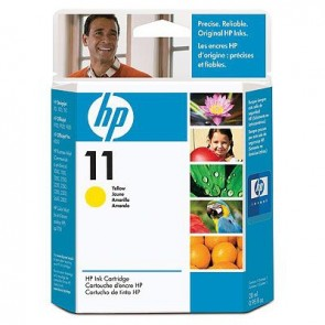 HP 11 YELLOW INK CARTRIDGE .